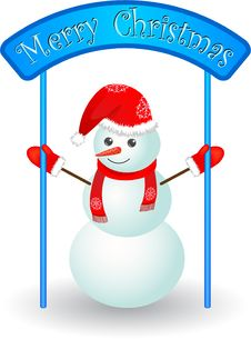 Free Christmas Snowman  With Poster Stock Photos - 16953493