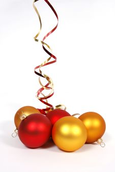 Yellow And Red Baubles Royalty Free Stock Photography