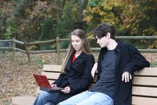 Laptop At The Park Royalty Free Stock Photos