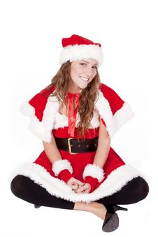 Mrs Santa Sitting Stock Photo