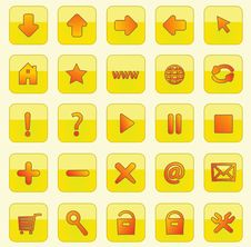 Free Yellow Square Web Buttons Stock Photos - 16955703