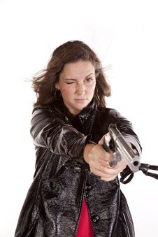 Free Woman Gun One Eye Open Stock Photo - 16955840