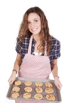 Free Woman With Freshly Baked Cookies Smiling Stock Photos - 16956513