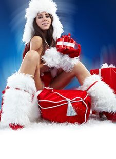 Free Sexy Girl Wearing Santa Claus Clothes Stock Images - 16956594