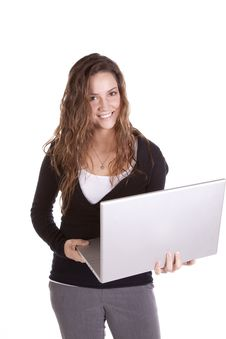 Free Business Woman Holding Laptop Royalty Free Stock Photo - 16956655