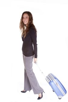 Free Business Woman With Blue Suitcase Stock Photo - 16956730