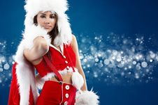 Free Sexy Girl Wearing Santa Claus Clothes Stock Photography - 16956792