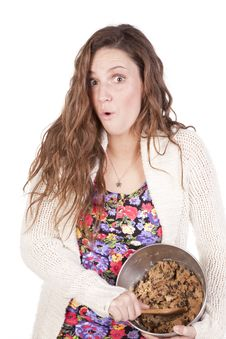 Free Happy Woman Stirring Cookie Dough Stock Images - 16956884