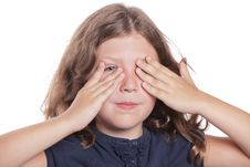 Free Little Girl Covering Eyes Stock Images - 16959434