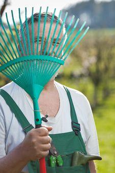 Free Senior Man Gardening In His Garden Stock Images - 16959724