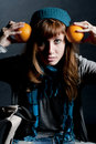 Free Beautiful Girl With Scarf And Hat And Oranges Royalty Free Stock Images - 16960779