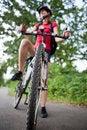 Free Female Biker  On Her Mountain Bike Stock Photo - 16962280