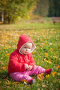 Free Little Baby Sit On Green Grass With Leafs In Park Royalty Free Stock Photos - 16965518