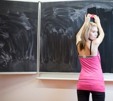Free Student Erasing The Chalkboard/blackboard Stock Photography - 16960492