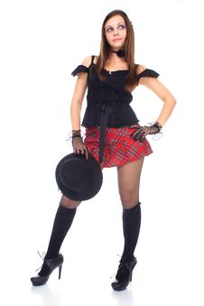 Gothic Girl In Mini Skirt With Hat Stock Photo
