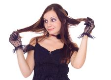 Free The Girl In Gloves Holding Her Hair Stock Photography - 16960802