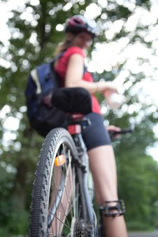 Free Female Biker  On Her Mountain Bike Stock Photo - 16961460