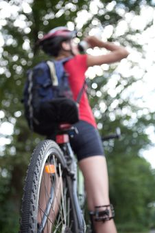 Free Female Biker  On Her Mountain Bike Stock Images - 16961484
