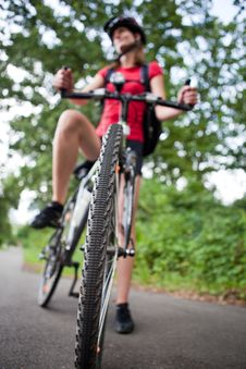 Free Female Biker  On Her Mountain Bike Stock Photo - 16962280