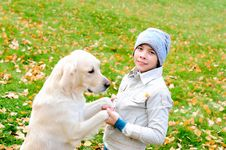 Free Boy Playing In Autumn Park Stock Photo - 16963140
