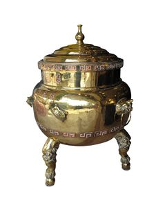 Chinese Brass And Copper Tea Urn Royalty Free Stock Photography