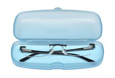 Open Sweet Blue Glasses Box With Spectacles Stock Image