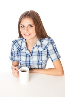 Free A Girl Is Drinking A Coffee Stock Photos - 16964913