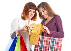 Free Girls Are Looking Into The Bag Stock Photo - 16964940