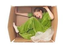 Free Young Woman Stretch Box By Hands And Legs Stock Photos - 16965033