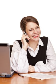 Free Happy Business Woman Calling In Office Stock Photography - 16965052