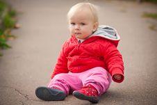 Free Baby Sit On Asphalt Road Stock Image - 16965321