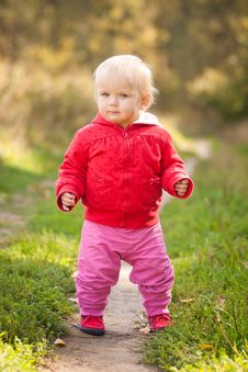 Free Adorable Baby Walking By The Road Royalty Free Stock Images - 16965449