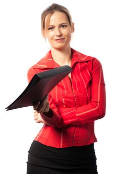 Happy Businesswoman Giving Folder Royalty Free Stock Photos