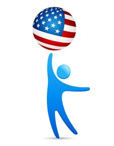 Free Man Holding American Flag Symbol Royalty Free Stock Images - 16966489