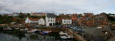 Panoramic View Of A Scottish Fishing Town Stock Image