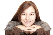 Young Woman With Chin On Hands Smiling Happy Stock Images