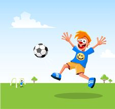 Free Happy Kid Playing Soccer Stock Photography - 16967182