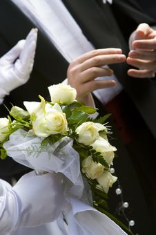 Free Bride Holding Bridal Bouquet Stock Images - 16967644