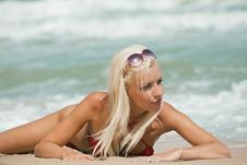Free Sexy Blonde On Sea Beach Royalty Free Stock Image - 16968036