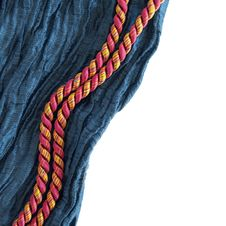Free Blue Silk Border With Two Cords Royalty Free Stock Photography - 16968227