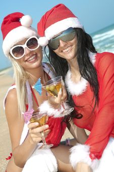 Two Sexy Women In Christmas Suit Royalty Free Stock Image