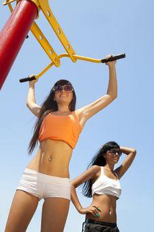 Free Two Joyful Girls On Sport Playground Royalty Free Stock Photo - 16968285
