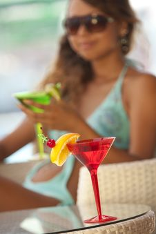 Free Woman With A Glass Of Martini Stock Photo - 16968340
