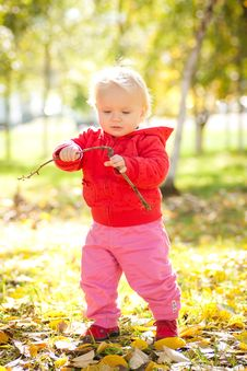 Baby Play With Wooden Brench Under Trees Royalty Free Stock Photo