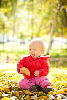 Free Cheerful Baby Play With Yellow Leafs Royalty Free Stock Images - 16968509
