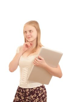 Free Adorable Businesswoman Holding Silver Laptop Stock Photos - 16968603