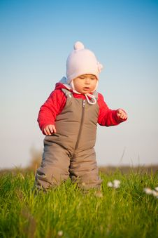 Free Adorable Baby Walk On Top Of Hill Royalty Free Stock Photos - 16968648