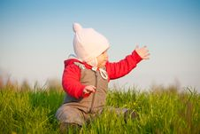 Free Adorable Baby Sit On Top Of Hill Stock Images - 16968664