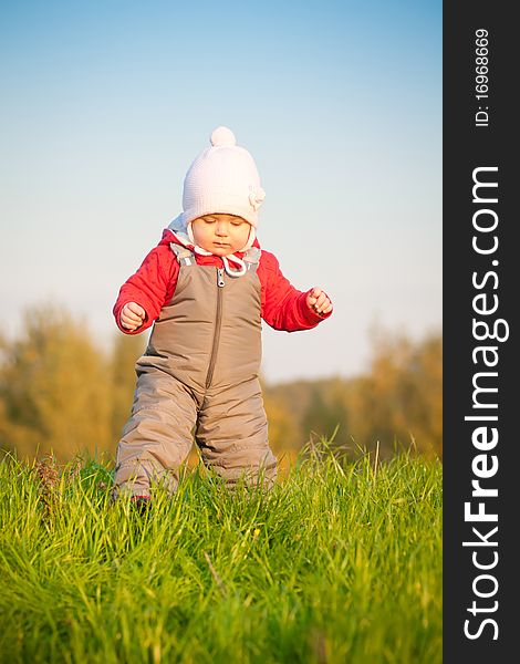 Baby walk on top of hill