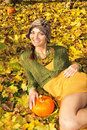 Free Woman Lying In Leaves Stock Photography - 16976722